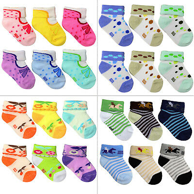 Baby Toddler Kids Unisex Warm Thick Cotton Socks 0-6T 6-Pack VWU Ankle Crew Socks with Grips