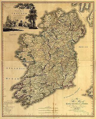 "Ireland Map irish Vintage painting Travel Poster Print art for  Glass Frame 36/"""