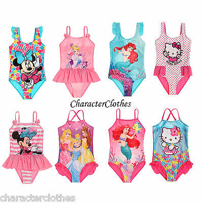 New Girls CHARACTER Swimsuit Kids Swimwear Swimming Costume Age 1-10 Years