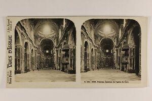 Italia-Palermo-Chiesa-Del-Gesu-c1925-Foto-Stereo-Vintage-Analogica