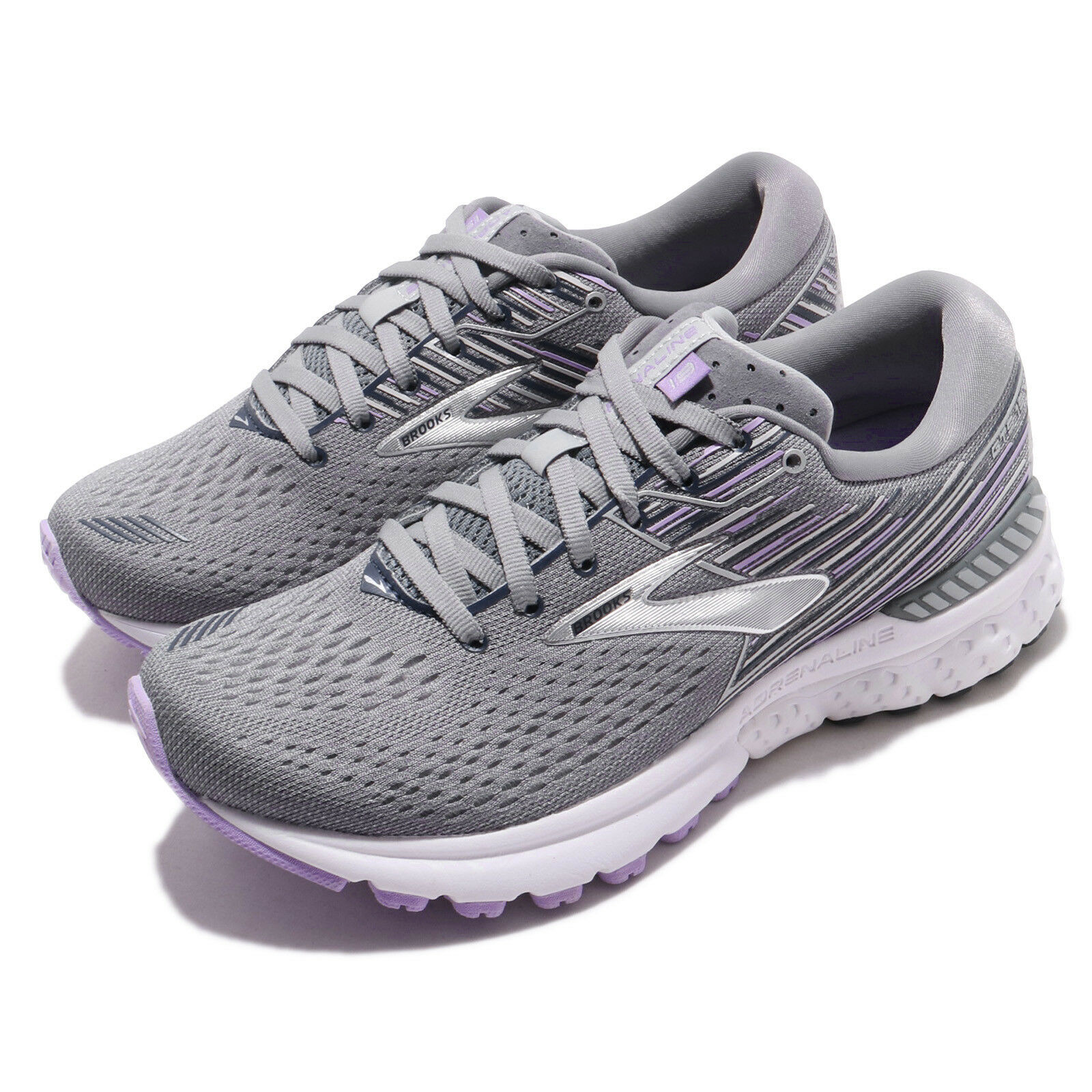 Brooks Adrenaline GTS 19 D Wide Grey Lavender Navy Women Running shoes 120284 1D
