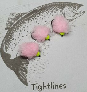 3 x Fly Fishing Biscuit and Chatreuse Blobs