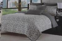Max Studio Stitched Floral Full/queen Quilt & Shams Set - Grey/cream/black - 3pc