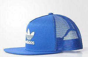 NEW ADIDAS ORIGINALS TREFOIL TRUCKER CAP BASEBALL HAT BLUE MEN WOMEN ... 71d90484fcf