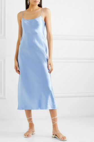 M $285 Size XS NWT Vince Satin Slip Midi Dress Light Blue Palisades
