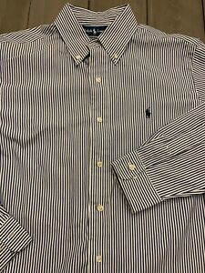 Polo-Ralph-Lauren-Button-Down-Classic-Fit-Shirt-Men-039-s-15-5-32-33-M-Blue-stripe