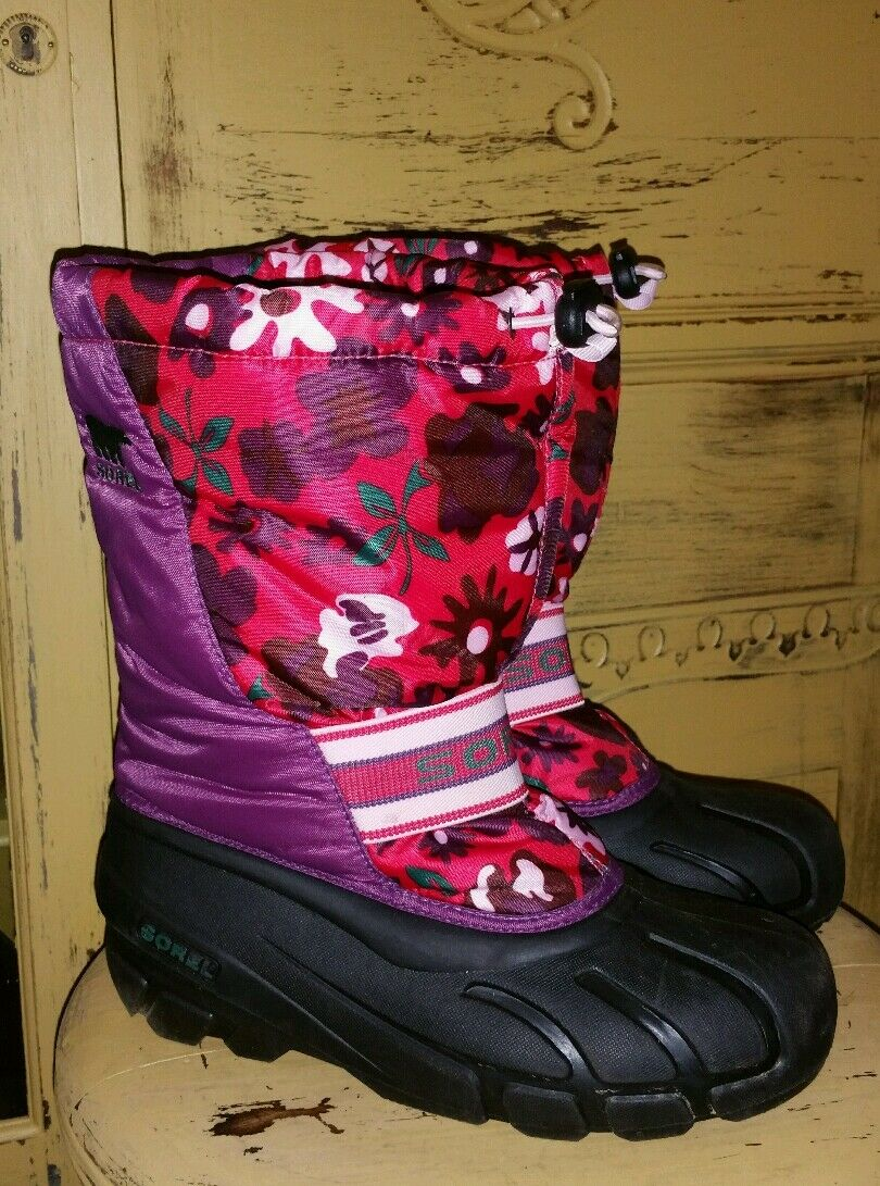SOREL LADIES INSULATED FLORAL SNOWMOBILE BOOTS WINTER EXTREME SNOW 6 M