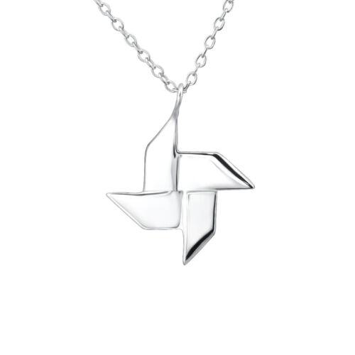45cm // 18 inch 925 Sterling Silver Origami Ninja Star Pendant Necklace