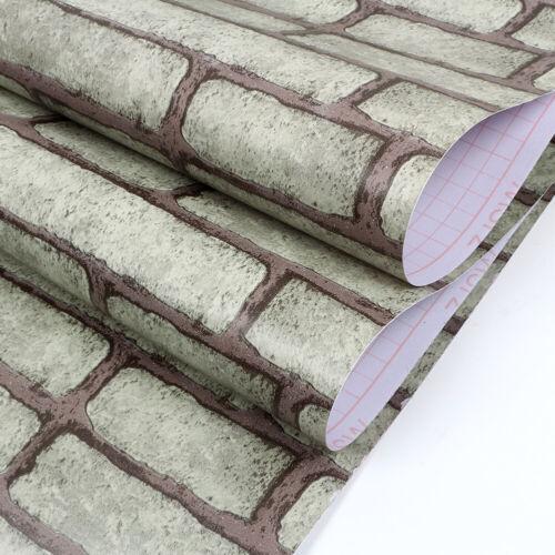 Vinyl 3D Brick Self Adhesive Wallpaper Roll Wall Stickers Kitchen Bathroom 10m