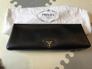 f1a73ed24f69 Image is loading Prada-Black-Saffiano-Leather-Gold-Hardware-Frame-Clutch
