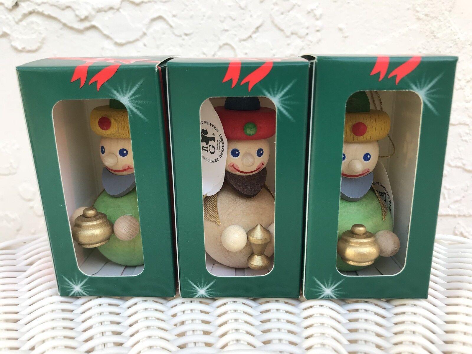 Set of 3 Glaesser 3 3 3 Wise Men Wood Christmas Ornament Handmade in Germany 5fd2cd