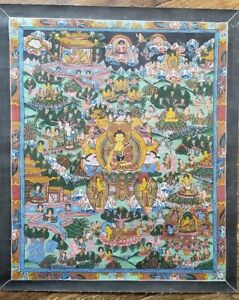 Antique-Or-Vintage-Nepalese-Buddhist-Hand-Painted-Thangka-Painting-w-gold-buddha