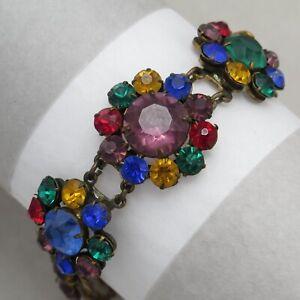Vtg-1930-039-s-Art-Deco-Rainbow-Harlequin-Glass-Halo-Flower-Bracelet