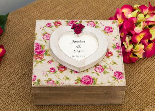 Grand vintage fait main personnalisé en bois souvenir memory BOX mariage anniversaire
