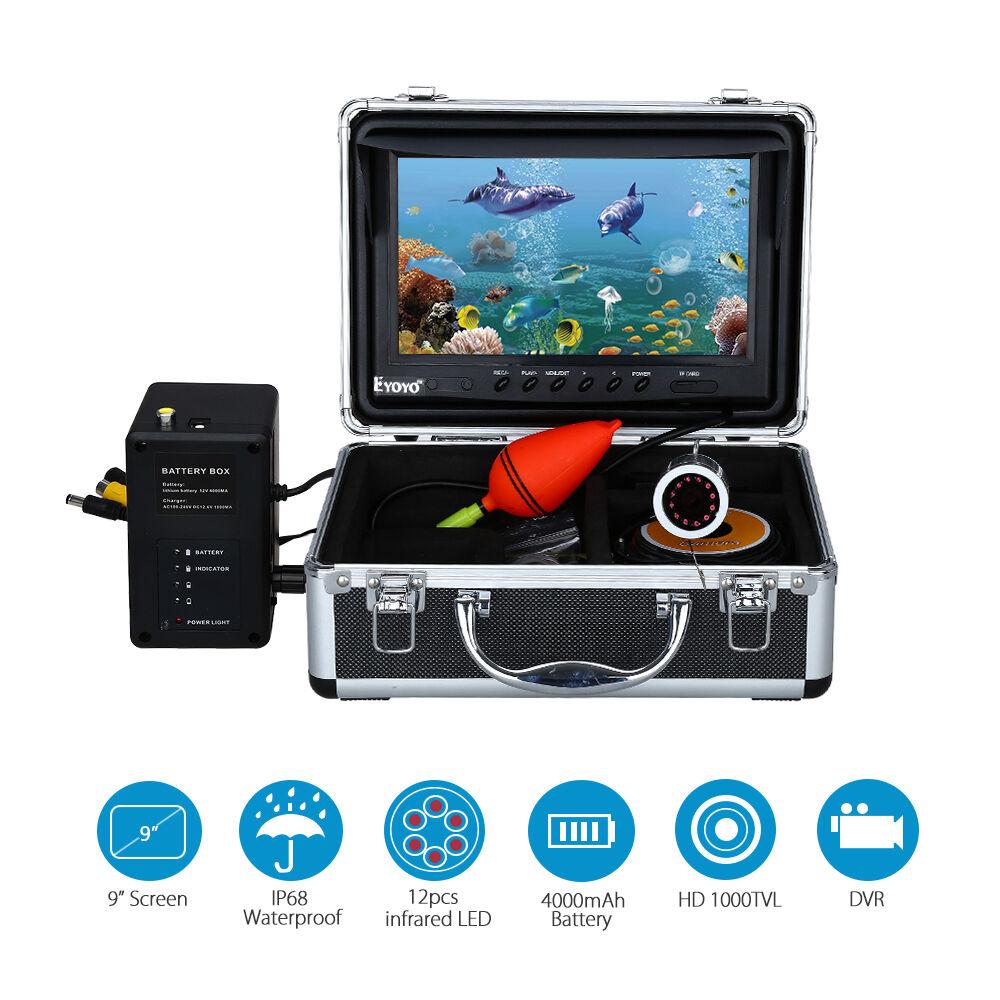 EYOYO 50m 164ft 9  LCD 8GB Fish Finder IR Fishing Video Camera Recorder Sunvisor