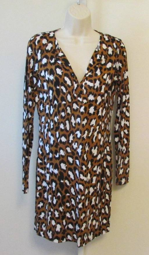Diane von Furstenberg Reina Spotted Cat Camel Camel Camel leopard brown 6 tunic dress New d4cf4a
