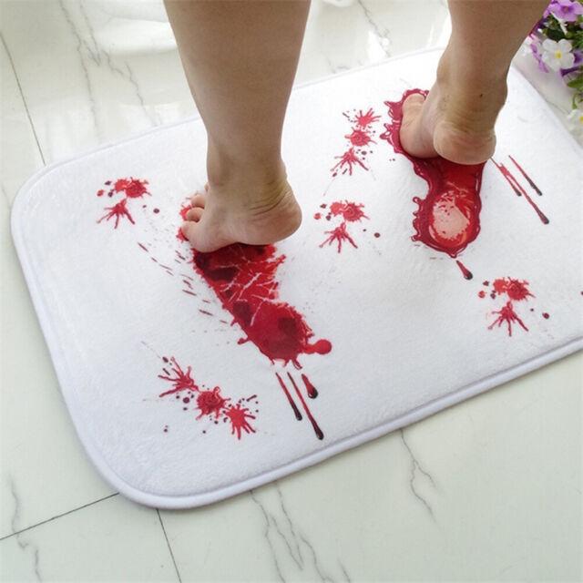 Scary Horror Movie Bloody Footprints Bloodbath Bathmat Blood Bath Mat
