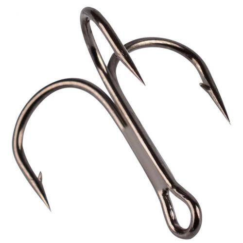 Lot 100 x Black Sharpened Fishing Treble Hooks 10 Sizes Stainless Steel Hooks