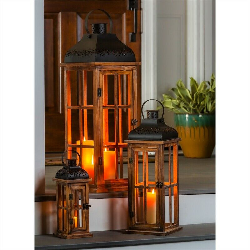 Set of 3 Nested Wood and Metal Lanterns