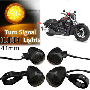 4 X Front /& Back RED LED Turn Signal Light Black 41mm Fork Clamp For Motorcycle