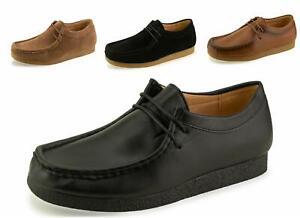 Hombres-jovenes-canguros-Cuero-Untado-Zapatos-de-suela-crepe-trabajo-Escolares-negro-talla-5-12