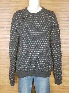 Tommy-Hilfiger-Gray-Geometric-Wool-Blend-Sweater-Mens-Size-Medium-M-EUC