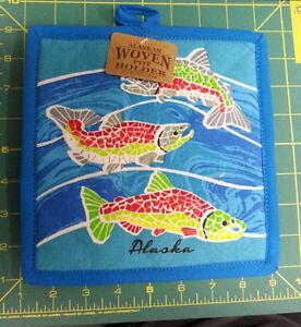 Alaska-Theme-Decorative-Pot-Holder-Mosaic-Salmon-Hot-Pad-LAST-ONE