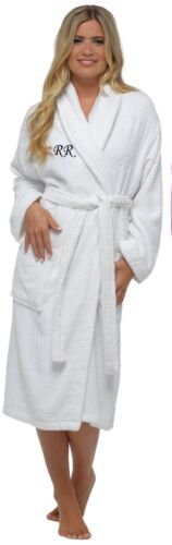 PERSONALISED Ladies Womens Luxury Pure Cotton Towelling Gown Robe Wrap Lady Olga