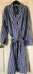 042db44ec1c  65 NWT Mens Polo Ralph Lauren Long Cotton Robe Wrap Blue White ...