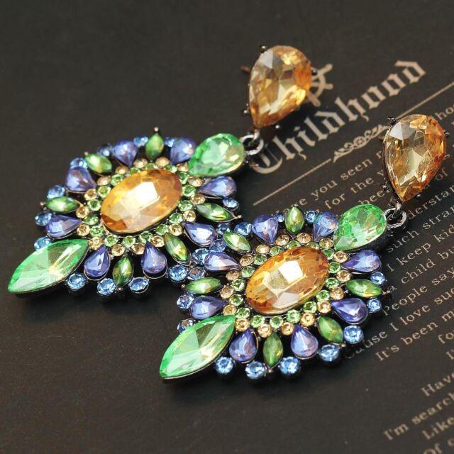 New design women gorgeous bib statement S&W crystal long Dangle Earrings e326