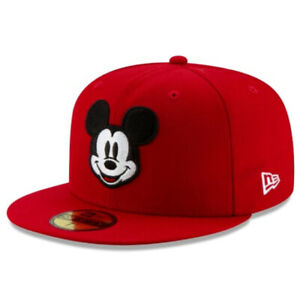 """Disney Mickey Mouse Black /& Scarlet 59Fifty Fitted Cap New Era 7 3//4/"""" Hat"""