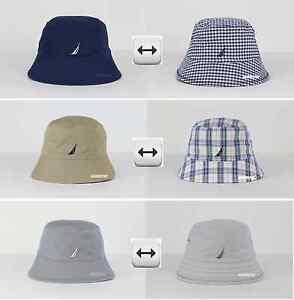 NWT NAUTICA MEN   WOMEN LOGO BUCKET HAT CAP REVERSIBLE 100%COTTON ... 3fedec2efbcd