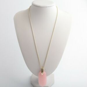New-Kendra-Scott-Inez-Gold-Long-Pendant-Necklace-In-Rose-Quartz