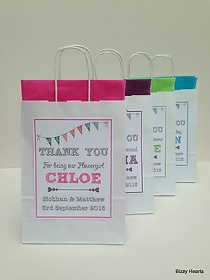 PERSONALISED PAPER WEDDING FAVOUR PARTY GIFT BAG BUNTING DESIGN WHITE