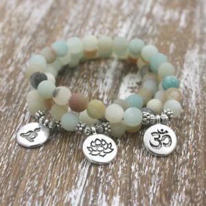 NATURAL-Matte-Amazonite-Stone-Charm-Lotus-Buddha-Yoga-Bracelets-Chakra-Mala-Bead