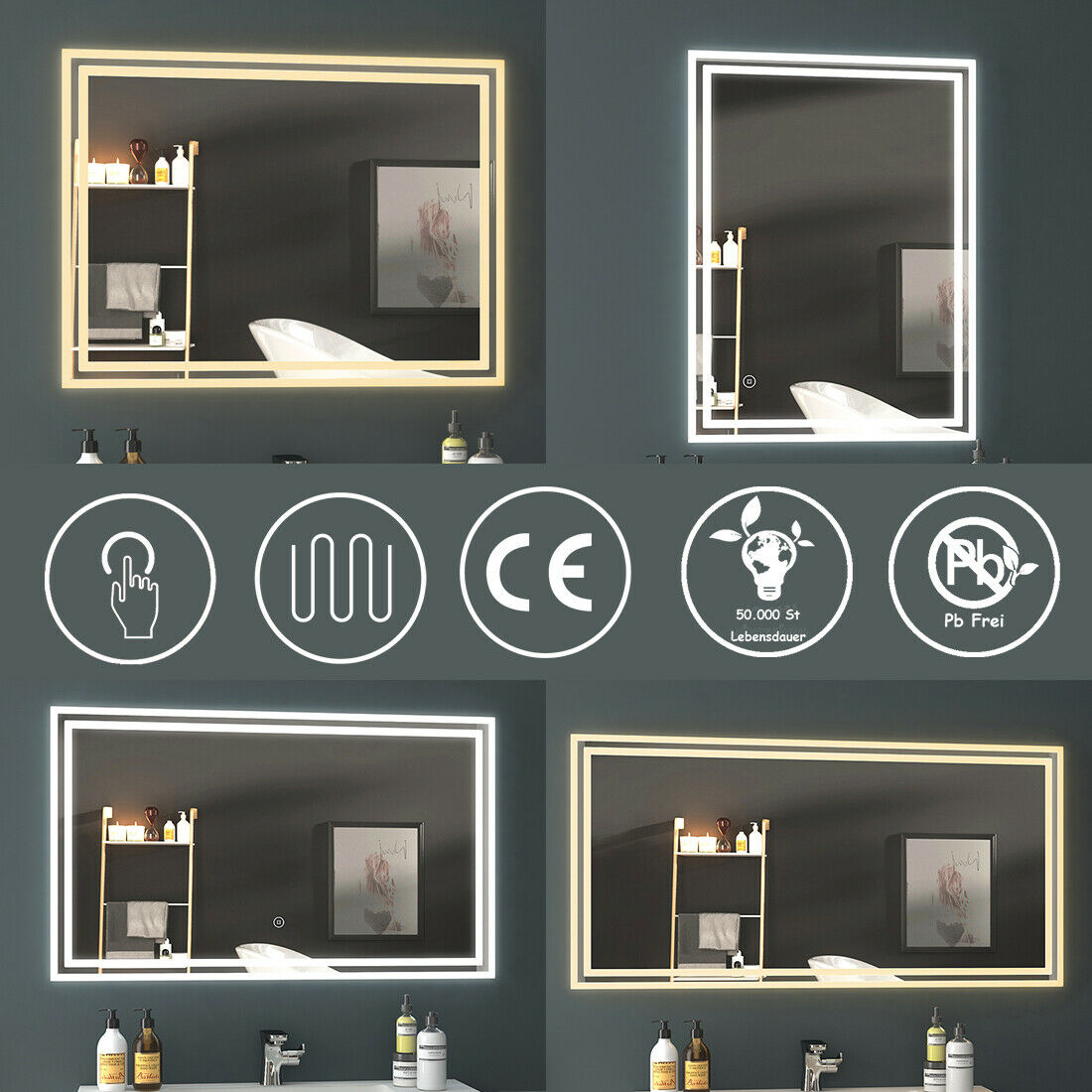 LED Spiegel 80x60 90x70 Badspiegel mit Beleuchtung Touchschalter Beschlagfrei