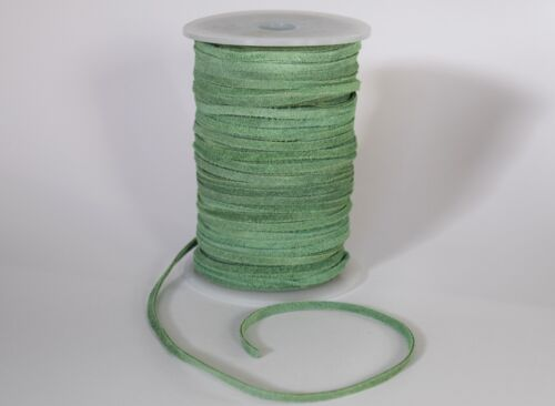 BARGAIN SALE CRAFT 1 X 50M REEL OF 3mm FLAT SUEDE LEATHER CORD LIGHT GREEN