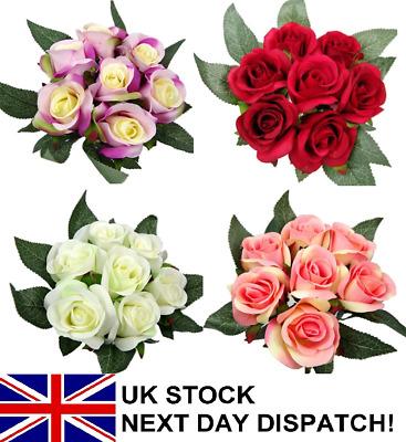 Artificial Rose Bundle 12 Head Bouquet Flowers Valentine Ivy Vine Wedding Decor