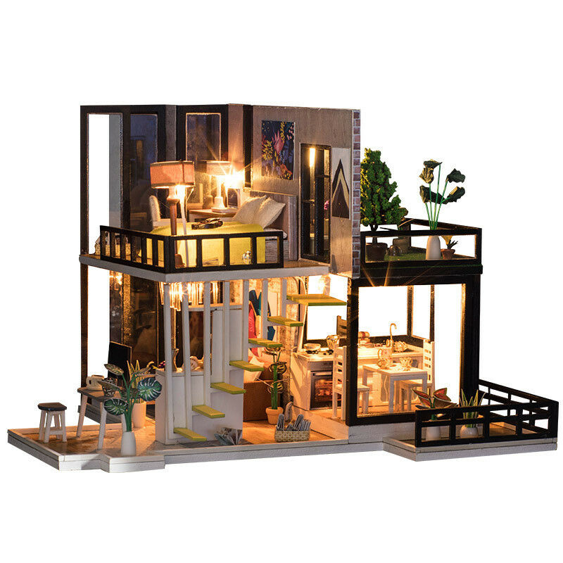 New DIY Dollhouse Miniature Sep Forest House Furniture LED Light Christmas Gift