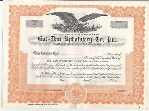 Vintage-Common-Stock-Certificate-GOL-DAN-UPHOLSTERY-CO-INC-1950-s-EAGLE-FLYS