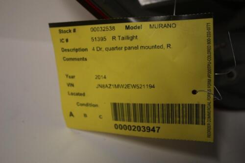 2011-2014 NISSAN MURANO PASSENGER RIGHT SIDE REAR TAIL LIGHT 32538