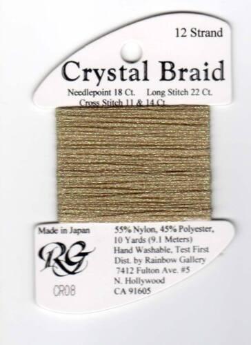Rainbow Gallery Crystal Braid CR08 Old Gold Pearl