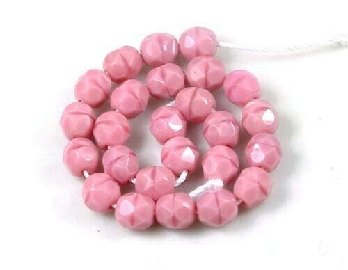 Coral 6mm 25 Czech glass Firepolish Faceted Round Pink