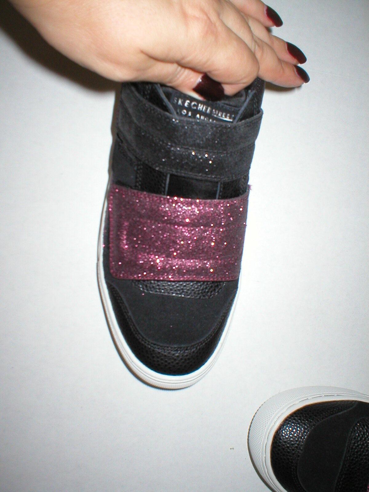 New Womens Glitter Glitter Glitter shoes Fashion Casual Sneakers 7 Black Pink Velcro Skechers 6cdd2c