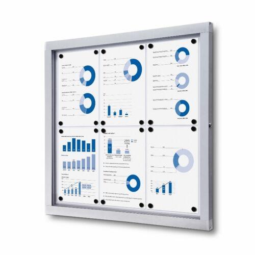 External Outdoor Magnetic Whiteboard Lockable Noticeboard 734mm x 689mm 6 xA4