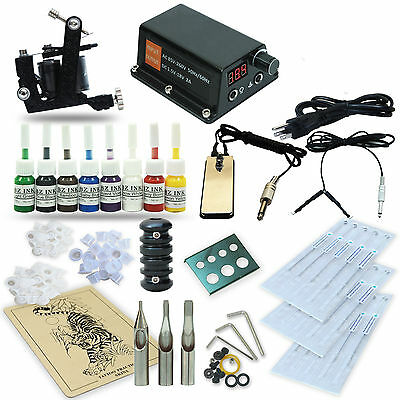 Complete Tattoo Kit 1 Machine Gun Set Equipment Power Supply 8 Color Inks TK-36