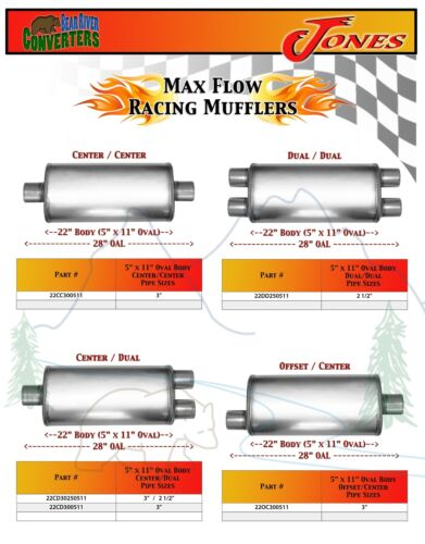 "18OC25049 Max Flow Muffler 18"" Oval Body 2 1//2"" 2.5"" Pipe Offset//Center 24"" OAL"
