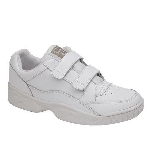 Wide Fit en Cuir Baskets Blanc Velcro dernières