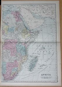 1890-LARGE-VICTORIAN-MAP-AFRICA-EAST-COAST-MADAGASCAR