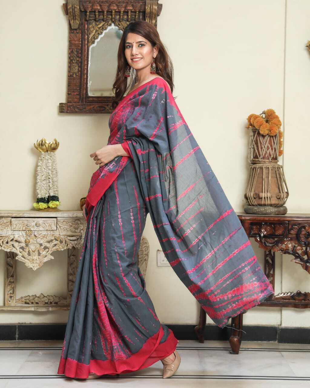 Exclusive Indian Designer Handprinted Cotton Saree Gift For Women With Blouse